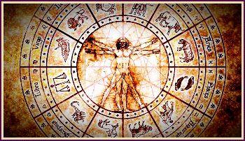 Tierkreis mit Astromedizin, Vitruvian-Mensch