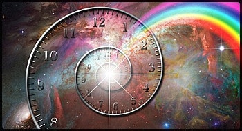"""Uhr im Kosmos, vom Jahreshoroskop erkanntes """"Gebot der Stunde"""""""