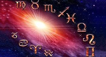 Astrologischer Tierkreis mit Sternzeichen-Symbole